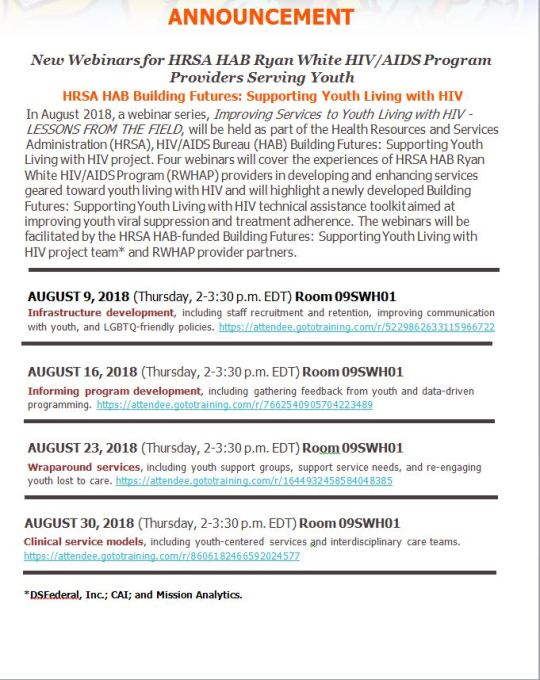 HRSA HAB Building Futures-Supporting Youth Living with HIV